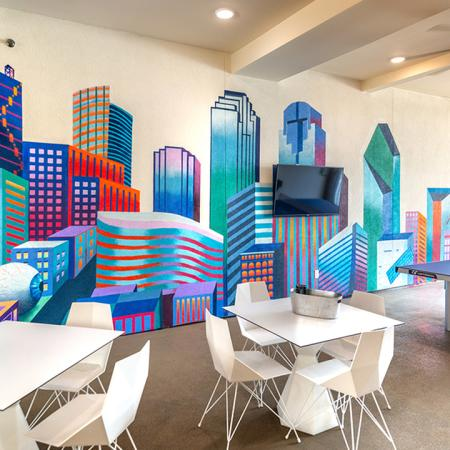 Custom Mural Commissioned in Community Space | Modera Hall Street | Apartment Homes | Texas | Peace of Mind Guarantee