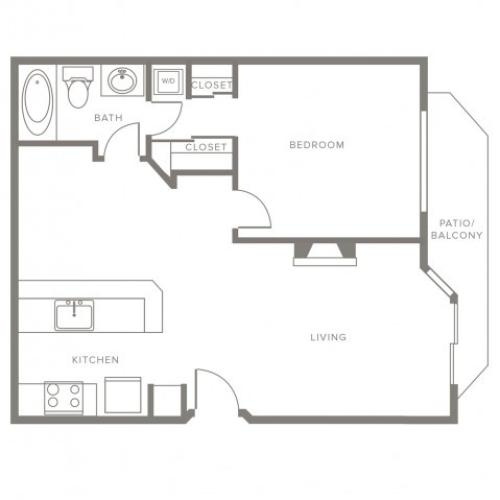 750 square foot one bedroom one story apartment floor plan