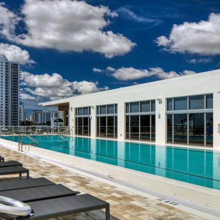 Rooftop Lap Pool with Chaise Loungers