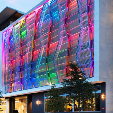 Exterior Night Shot with Multi-Colored Lighting
