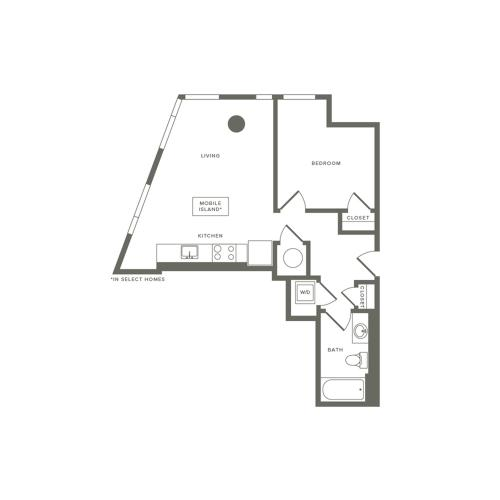 526 to 605 square foot one bedroom one bath apartment floorplan image