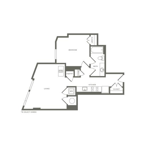 733 square foot one bedroom one bath apartment floorplan image