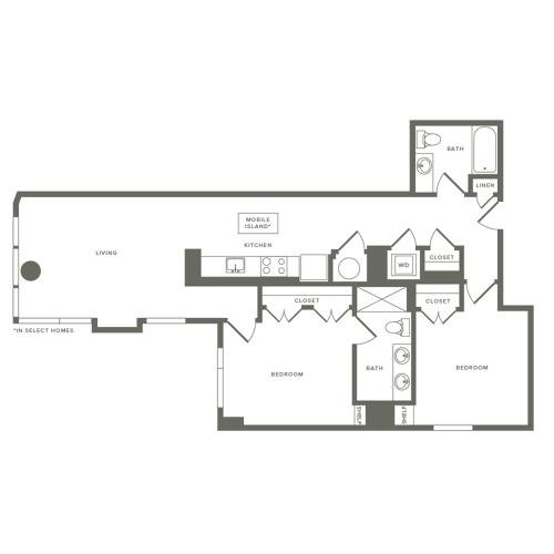 1046 square foot two bedroom two bath apartment floorplan image