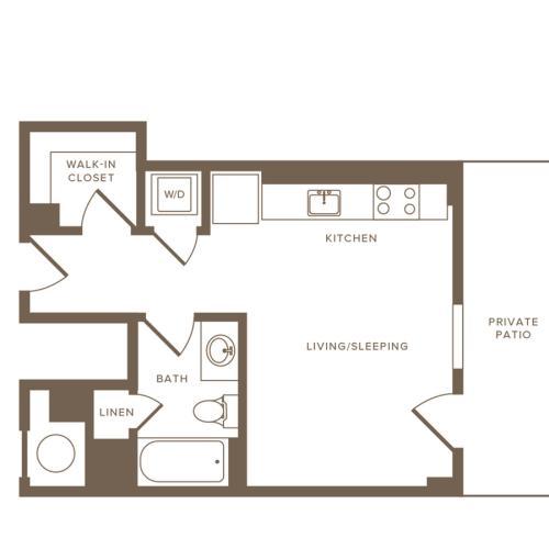 395 square foot studio one bath apartment floor plan image