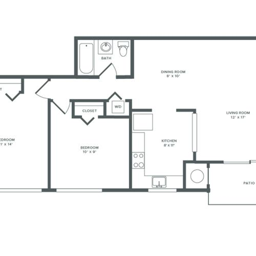 875 square foot two bedroom one bath apartment floorplan image