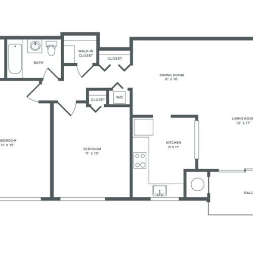 970 square foot two bedroom one bath apartment floorplan image