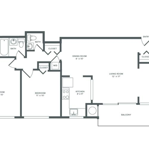 1071 square foot two bedroom with den one and a half bath apartment floorplan image