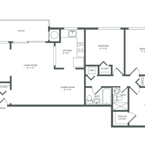 1113 square foot three bedroom with den two bath apartment floorplan image