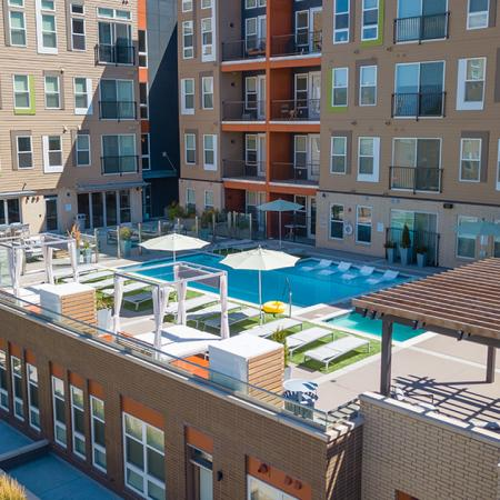 Plenty of outdoor space in our swimming pool area to hang out with friends and neighbors