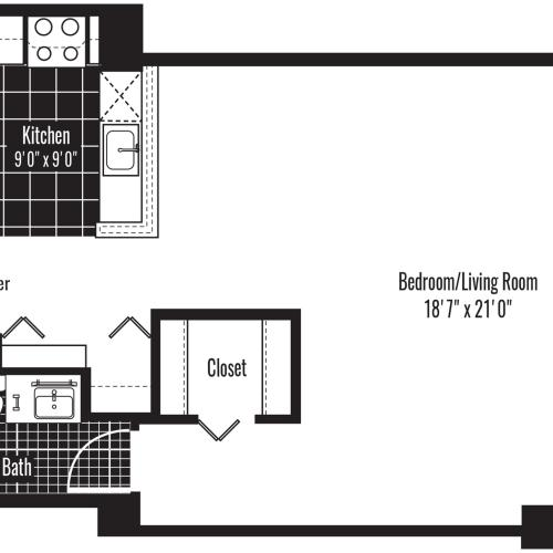610 square foot studio one bath apartment floor plan image