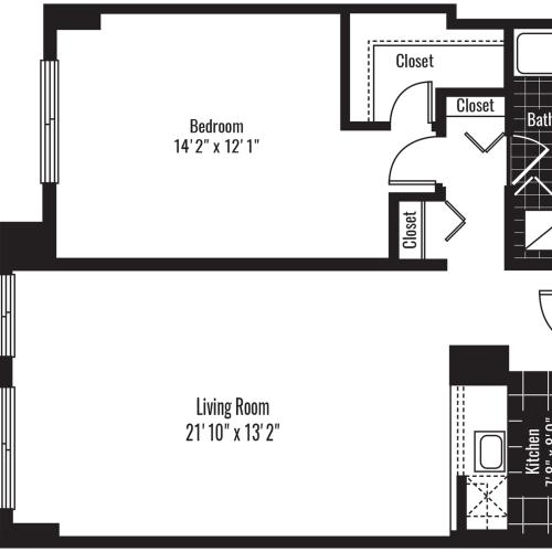 768 square foot one bedroom one bath apartment floorplan image