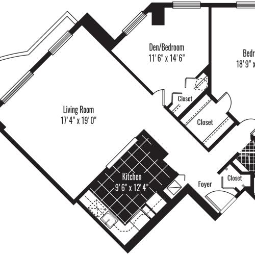 1050 square foot two bedroom one bath apartment floorplan image
