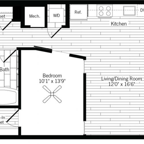 678 square foot one bedroom one bath apartment floorplan image