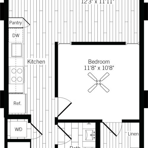 686 square foot one bedroom one bath apartment floorplan image