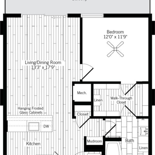 774 square foot one bedroom one bath apartment floorplan image