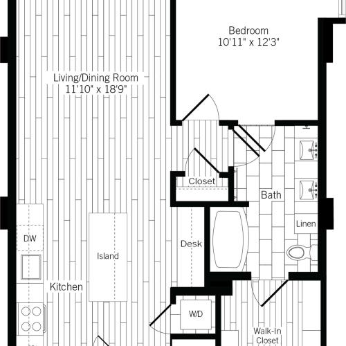 827 square foot one bedroom one bath apartment floorplan image