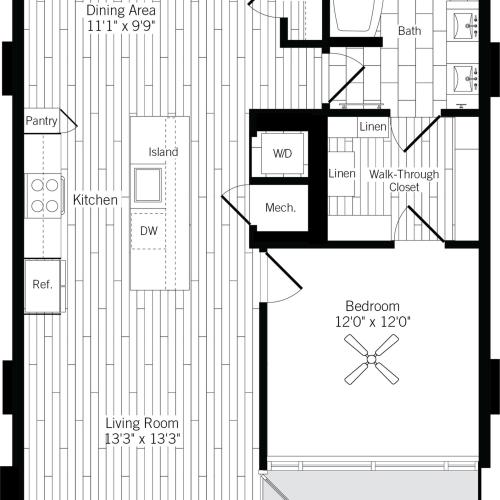 891 square foot one bedroom one bath apartment floorplan image