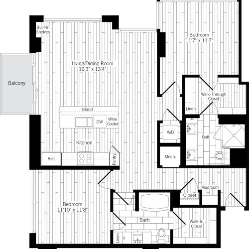 1232 square foot two bedroom two bath apartment floorplan image