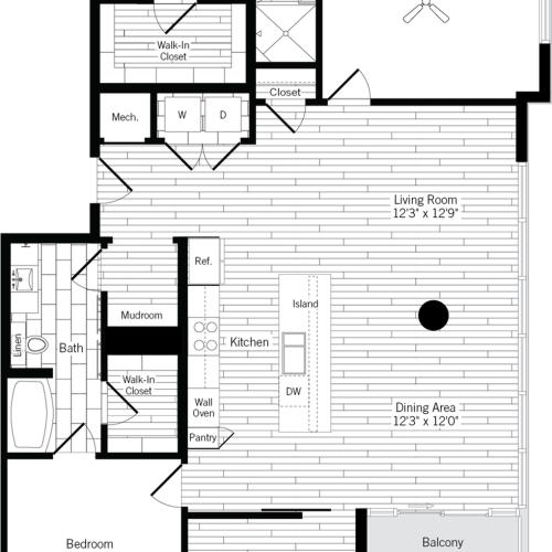 1466 square foot two bedroom two bath apartment floorplan image