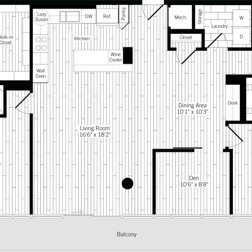 1630 square foot two bedroom two bath  with den apartment floorplan image