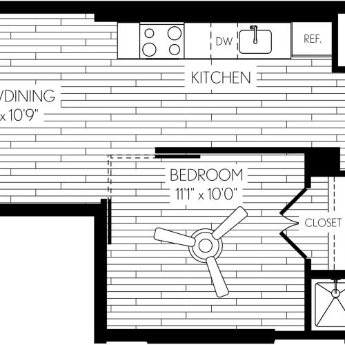 516 square foot one bedroom one bath apartment floorplan image