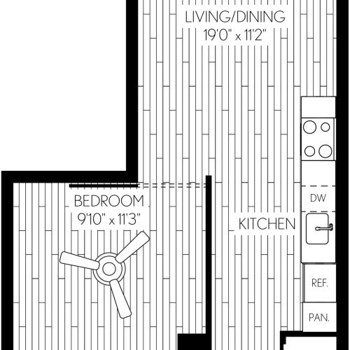 596 square foot one bedroom one bath apartment floorplan image
