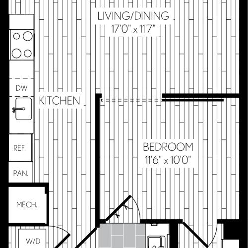 649 square foot one bedroom one bath apartment floorplan image