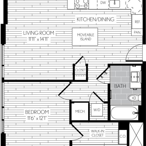 663 square foot one bedroom one bath apartment floorplan image