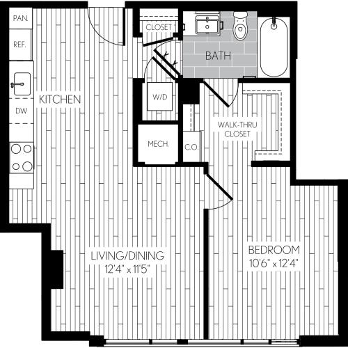 723 square foot one bedroom one bath apartment floorplan image