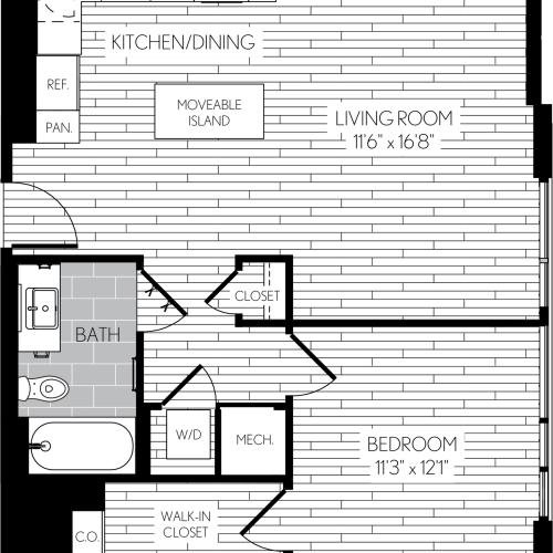 740 square foot one bedroom one bath apartment floorplan image