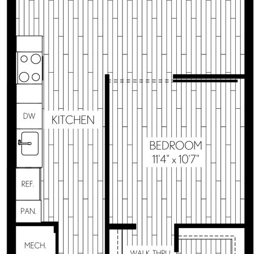 744 square foot one bedroom one bath apartment floorplan image