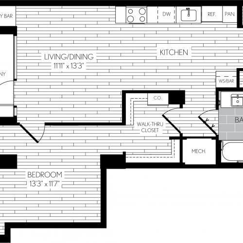 751 square foot one bedroom one bath apartment floorplan image