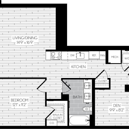 798 square foot one bedroom one bath with den apartment floorplan image