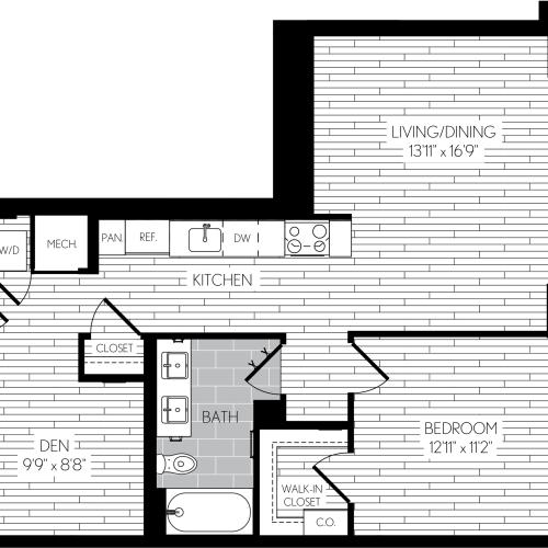 817 square foot one bedroom one bath with den apartment floorplan image
