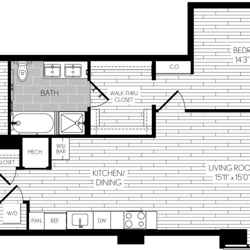 975 square foot one bedroom one and a half bath with den apartment floorplan image