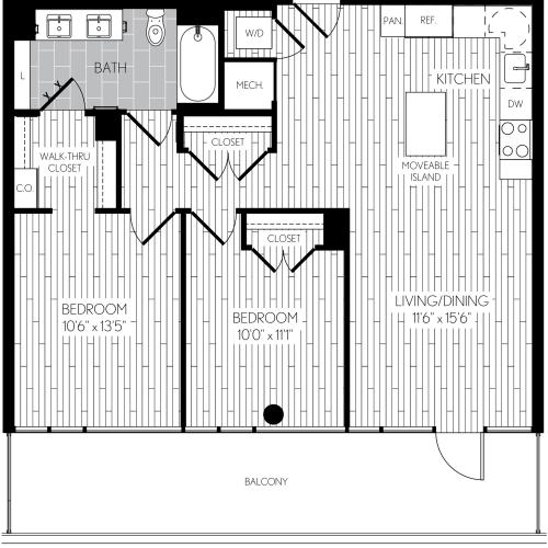 916 square foot two bedroom one bath apartment floorplan image