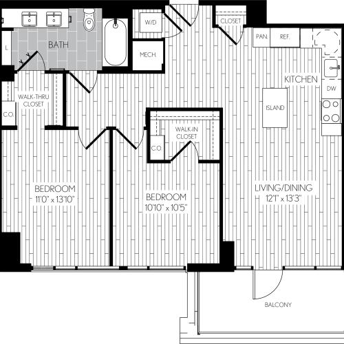 951 square foot two bedroom one bath apartment floorplan image
