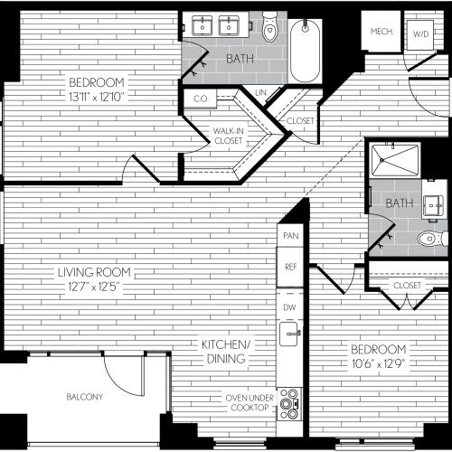 1079 square foot two bedroom two bath apartment floorplan image