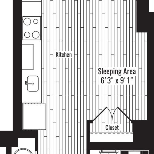 457 square foot studio one bath apartment floor plan image