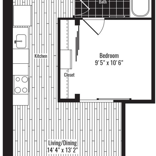 585 square foot one bedroom one bath apartment floorplan image