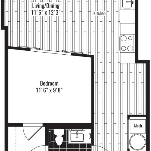 634 square foot one bedroom one bath apartment floorplan image