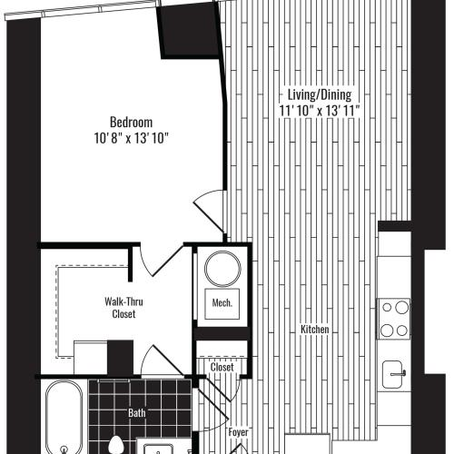 688 square foot one bedroom one bath apartment floorplan image