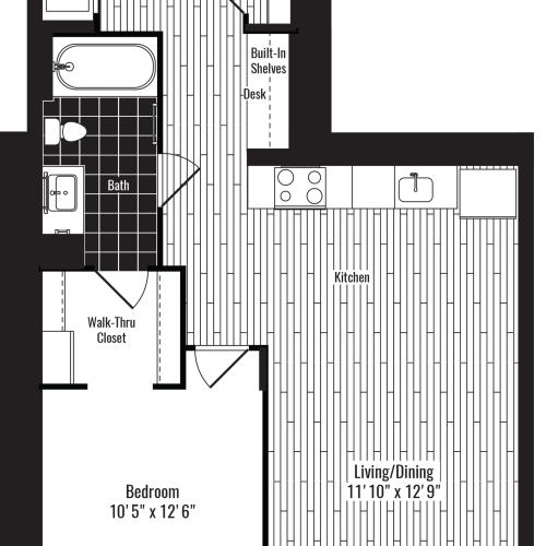 697 square foot one bedroom one bath apartment floorplan image
