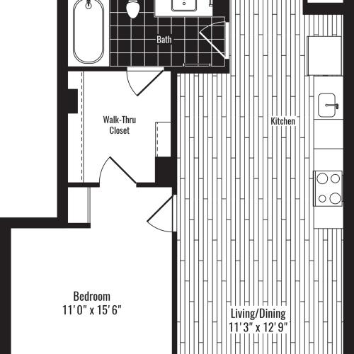 712 square foot one bedroom one bath apartment floorplan image