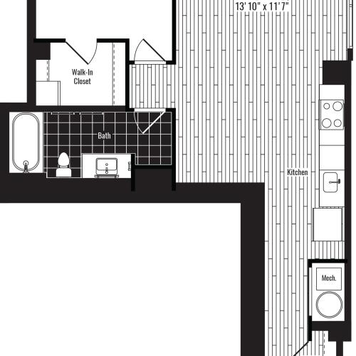763 square foot one bedroom one bath apartment floorplan image