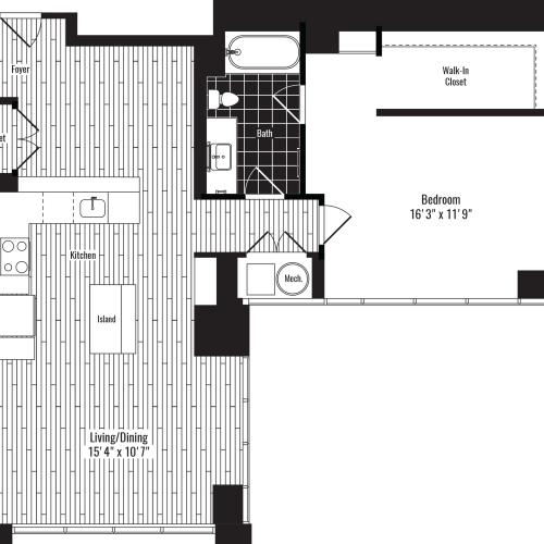 975 square foot one bedroom one bath apartment floorplan image