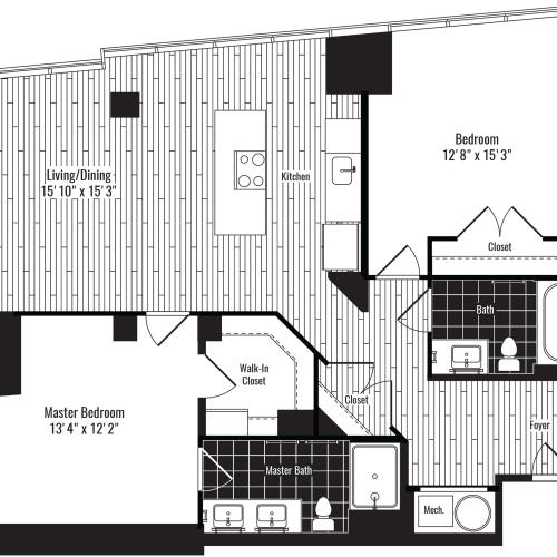 1100 square foot two bedroom two bath apartment floorplan image
