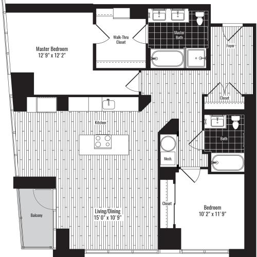 1245 square foot two bedroom two bath apartment floorplan image