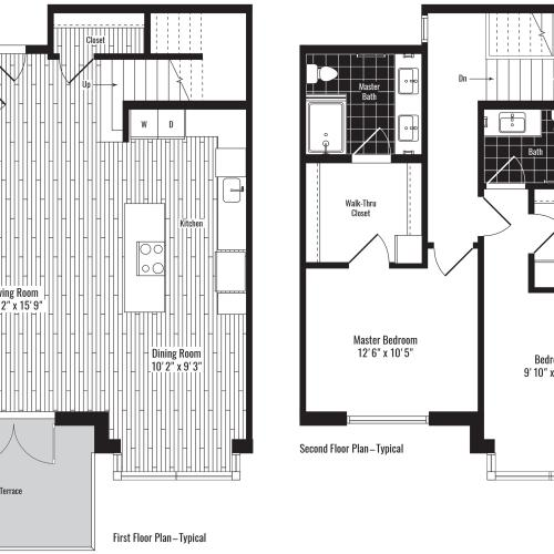 1516 square foot two bedroom two and a half bath two story townhome floorplan image