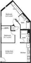 802 square foot two bedroom two bath apartment floorplan image